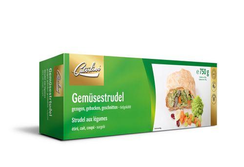 Tiefgekühlter Veganer Gemüsestrudel verpackt von Caterline